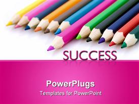 Winner or success metaphor with colorful pencils powerpoint theme