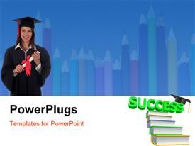 PowerPoint template displaying woman in graduation robes holding a diploma