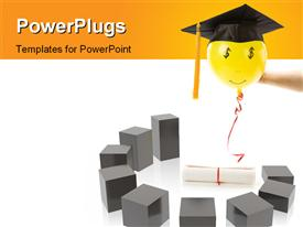 PowerPoint template displaying balloon and Black Mortarboard high pay jobs