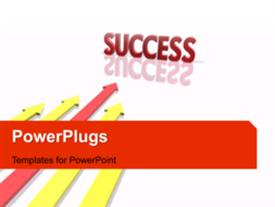 PowerPoint template displaying animated success depiction with red arrow reaching success ahead of others