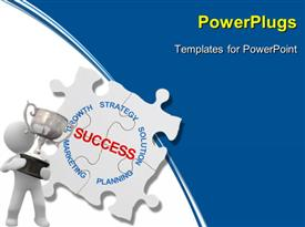PowerPoint template displaying puzzle business concept marketing Strategy close up in the background.