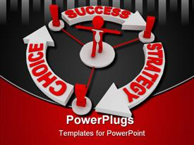 PowerPoint template displaying red figure with white tie surrounded by arrows showing cycle of strategy, choice, success
