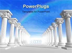 PowerPoint template displaying conceptual iconic-style Greek architecture with rainbow in sky