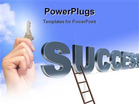 PowerPoint template displaying a ladder with the word success