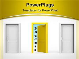 PowerPoint template displaying line of three doors - two grey and one yellow door - door and door frame no walls - two doors closed in the background.