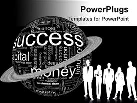 PowerPoint template displaying depiction with different economic terms in black and white in the background.