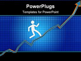 PowerPoint template displaying two dimensional man running up arrow on financial chart