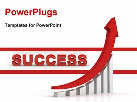 PowerPoint template displaying the word success and a growth graph and place for text