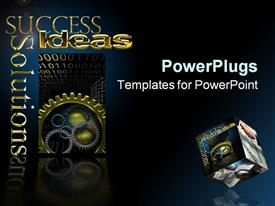 PowerPoint template displaying different sizes and colors of gears with success text
