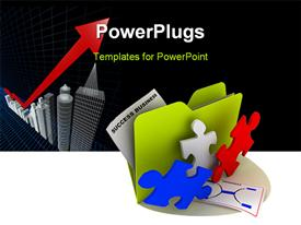 PowerPoint template displaying success business icon with puzzles in foreground in the background.