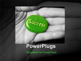 PowerPoint template displaying success stone in black and white hand in the background.