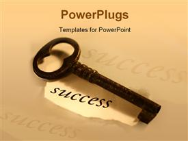 PowerPoint template displaying conceptual depiction: key to success