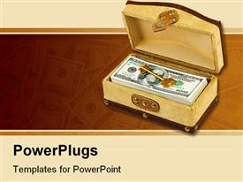 PowerPoint template displaying stack of hundred dollar bills and gold key in box