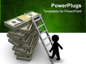 PowerPoint template displaying black figure climbing ladder to top of stacked hundred dollar bills