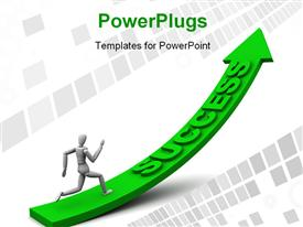 PowerPoint template displaying 3D man running up green success arrow over digital background