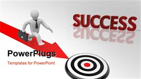 PowerPoint template displaying success metaphor with white 3D figure walking down red arrow toward bulls eye target