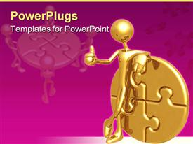 PowerPoint template displaying gold plated man showing thumbs up beside gold puzzle coin