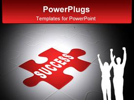 PowerPoint template displaying success. Abstract background from parts 3D puzzle in the background.