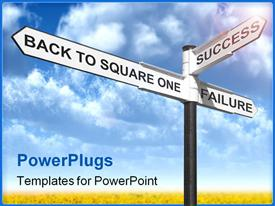 PowerPoint template displaying concept signpost with Back to Square One Success and Failure against a blue cloudy sky in the background.