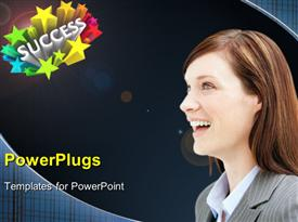 PowerPoint template displaying beautiful lady smiling with 3D rendering of SUCCESS and colored stars