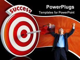 PowerPoint template displaying man rejoicing with dart hitting middle of success target