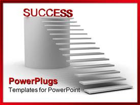 PowerPoint template displaying stair steps leading to red success word on top of cylinder