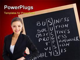 PowerPoint template displaying crossed handwriting words on a school blackboard in the background.