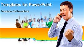 Business team people group crowd full length stand powerpoint design layout