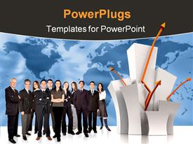 PowerPoint template displaying lots of humans standing beside arrow signs and globe background