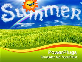 PowerPoint template displaying animated smiling sun in a blue sky over green grass