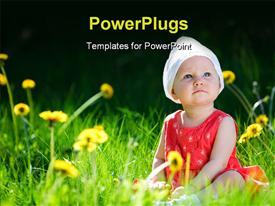 PowerPoint template displaying a kid in the field with a lot of flowers