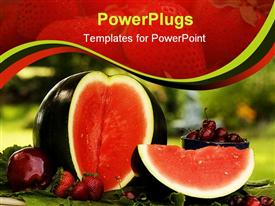 PowerPoint template displaying summer red fruit including sugar baby water melon apple strawberries and cherries