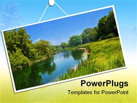 PowerPoint template displaying summer landscape with river and blue sky