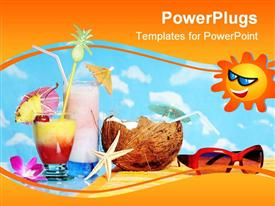 PowerPoint template displaying tropical drinks, starfish, coconut, sunglasses, blue sky