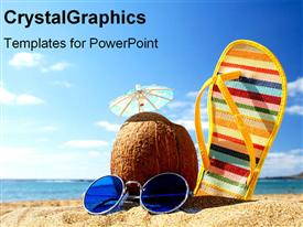 PowerPoint template displaying summer beach supplies on sand in the background.