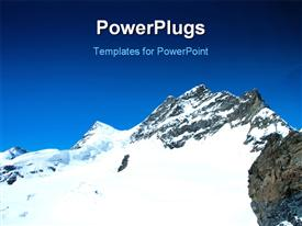 PowerPoint template displaying a snow peek with bluish background and place for text