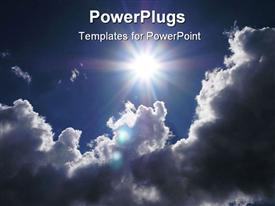 PowerPoint template displaying a view of cloudy sun in the sky