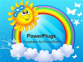 PowerPoint template displaying smiling sun with rainbow circle and clouds in blue background