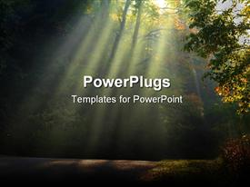 PowerPoint template displaying morning sun light rays piercing through the trees