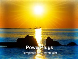 PowerPoint template displaying boat on the sea in dawn beams