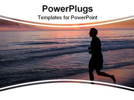 PowerPoint template displaying man running on a beautiful sunset beach with the sun reflecting on the water