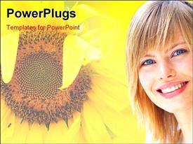 PowerPoint template displaying flourishing sunflower in summer with beautiful lady smiling on