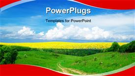 PowerPoint template displaying yellow sunflower field over cloudy blue sky