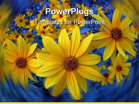 PowerPoint template displaying lots of sun flowers with a lurry blue background