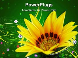 PowerPoint template displaying close up of yellow sunflower on abstract pattern with green background