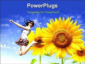PowerPoint template displaying a girl jumping in the air with sunflowers and bluish background