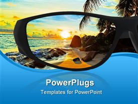 Sunglasses and seascape (my photo) reflection template for powerpoint