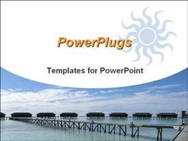 PowerPoint template displaying resort homes with wooden bridge, ocean, blue sky, travel, vacation
