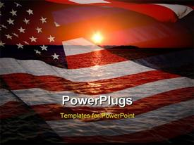 America patriotic concept with sunrise over ocean powerpoint design layout
