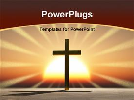 PowerPoint template displaying a holy cross with a sun in the background